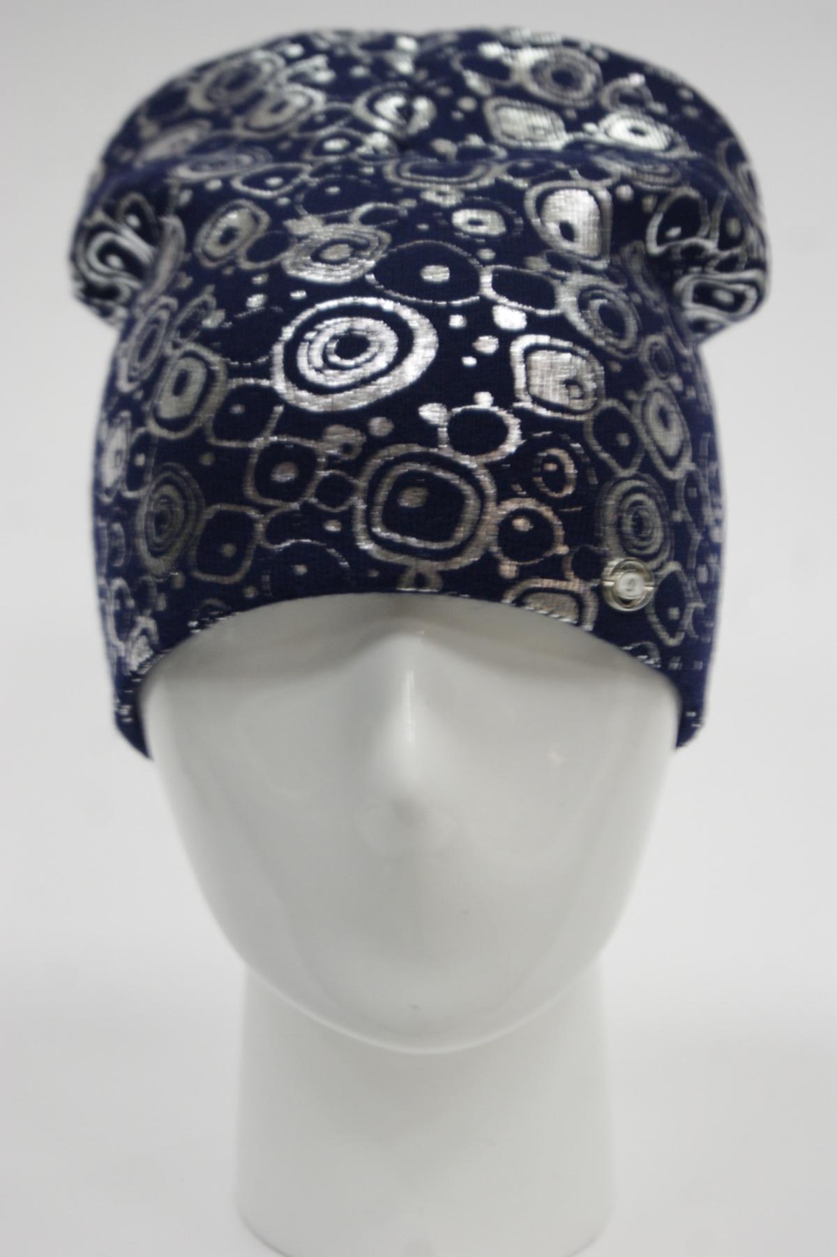 Шапка колпак декорированная блестящим накатом по всей поверхности шапки